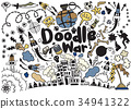Hand drawing Doodle War collection,Vector  34941322
