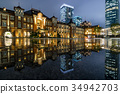 Tokyo station Marunouchi night view after rain and reflection 34942703