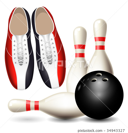 Bowling shoes, skittles and ball - bowling poster 34943327