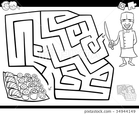 maze game coloring book with chef and sushi 34944149