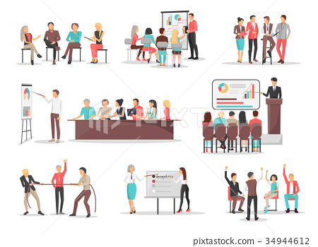 Office Team Building Concepts Illustrations Set 34944612