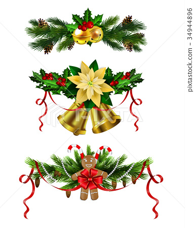 Christmas decoration evergreen trees and bell 34944896