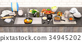 Kitchen, table, with, ingredients, and, utensils 34945202
