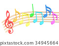 Colorful Music Notes, 3D rendering 34945664