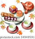 손으로 그린 수채화 가을의 과자와 녹차 세트 34949591