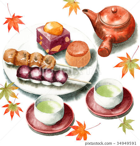 手拉的水彩秋天日本甜點和日本茶具 34949591