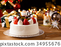 圣诞蛋糕 草莓 蜡烛 34955676