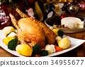 温暖的蔬菜 烤鸡 圣诞节 34955677
