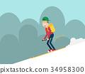 man skiing on mountain flat style 34958300