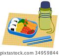 주먹밥과 반찬 도시락과 물병 34959844