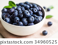Juicy and fresh blueberries on white bowl 34960525