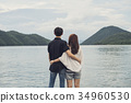 Back view of Young couple looking at the nature 34960530