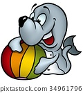 Seal with Beach Ball  34961796