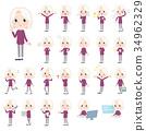 purple shirt old women White_1 34962329