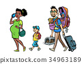 Multi ethnic family travelers, mom dad and kids 34963189