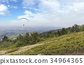 A flying paraglider against the blue sky 34964365