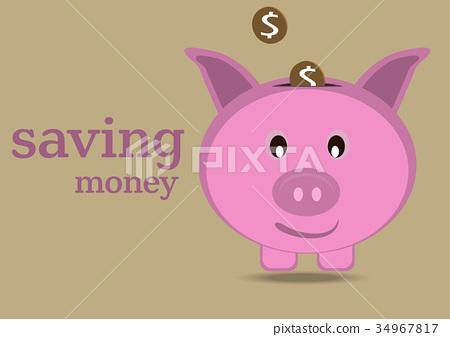 Money savings with piggy , vector illustration 34967817