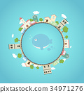 Earth planet with city and cute whale in mid 34971276