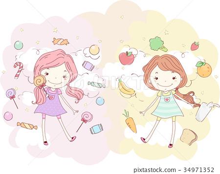 Kids Girls Candies Healthy Foods Illustration 34971352
