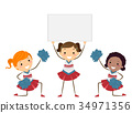 Stickman Kids Girls Cheering Board Illustration 34971356