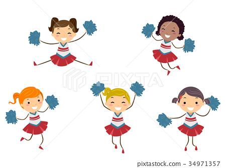 Stickman Kids Girls Cheer Leaders Illustration 34971357