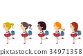 Stickman Kids Girls Cheer Run Pompoms Illustration 34971358