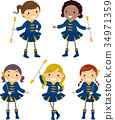 Stickman Kids Girls Majorette Illustration 34971359