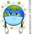 Earth Mascot Sick Mask Virus Illustration 34971409