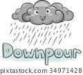 Cloud Mascot Rain Downpour Illustration 34971428