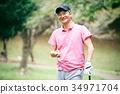 打高爾夫球的中間人 34971704