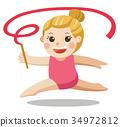 Rhythmic gymnastics. Sportswoman with ribbon. 34972812