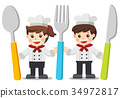 Chef Kids Menu. Kids with knife, spoon and fork. 34972817