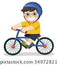 A Cute Boy with glasses. He riding a bicycle. 34972821