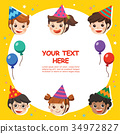 Happy Birthday. Beautiful Kids greeting funny. 34972827