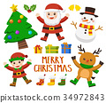 Set of Happy Merry Christmas.Christmas character. 34972843