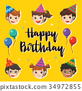 Happy Birthday. Beautiful Kids greeting Party. 34972855