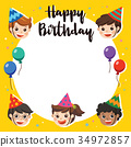 Happy Birthday. Beautiful Kids greeting Party. 34972857