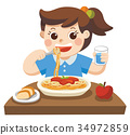A Little girl happy to eat Spaghetti. 34972859