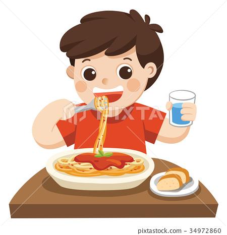 A Little boy happy to eat Spaghetti. 34972860