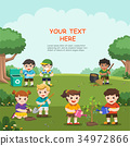 Save Earth. Kids planted and watering young trees. 34972866