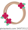 꽃리스 분홍색 꽃과 나뭇 가지의 조합 34973512