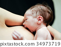 Mother feeding breast her baby at home 34973719