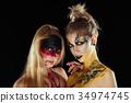 Two mystic girls. Halloween horror ladies. 34974745