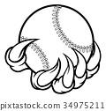 Monster claw holding Baseball Ball 34975211