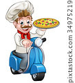 chef, pizza, cartoon 34975219