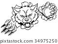 Wolf Tennis Mascot Breaking Background 34975250