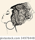 Portrait of cute african woman with hat (profile) 34976448