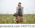 pretty young caucasian girl fashion dress outdoor 34977216