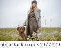 pretty young caucasian girl fashion dress outdoor 34977229