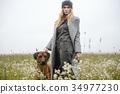 pretty young caucasian girl fashion dress outdoor 34977230